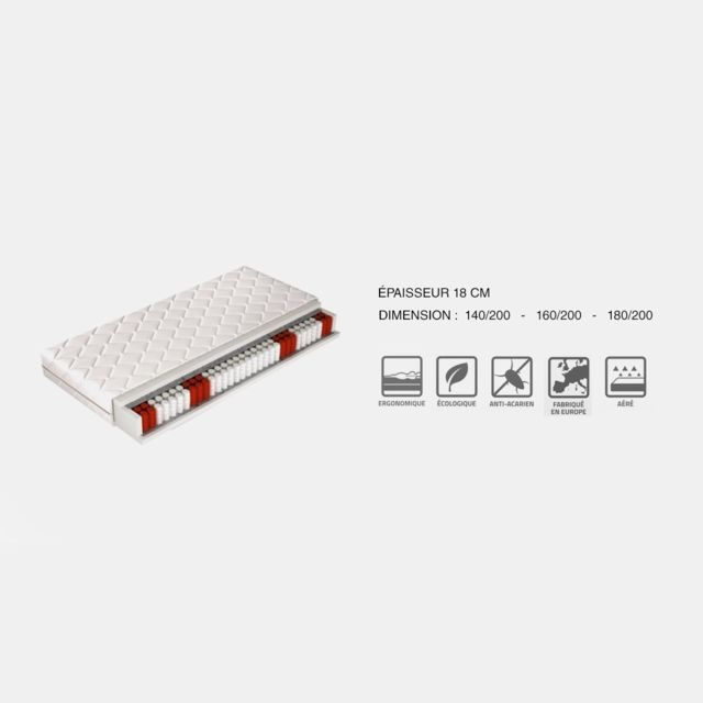 Meubler Design Matelas ergonomique 180x200cm