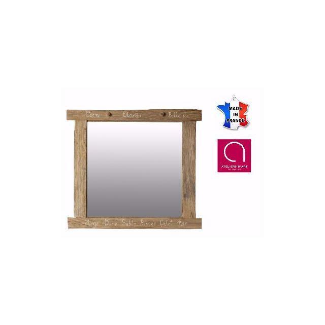 BO TIME Miroir en bois flotté avec inscription marine personnalisable - Fabriqué à la main en France
