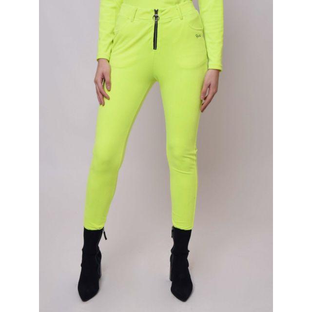 PROJECT X Pantalon velvet avec passant zip rond