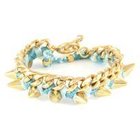 Blue Pearls - Ettika - Bracelet Spikes en Or Jaune et Coton Rubans Tressés Bleu Glace - Etk 0102 Bleu Glace