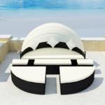 Vidaxl Salon de jardin/bain soleil noir 2 en 1 polyrotin avec dais