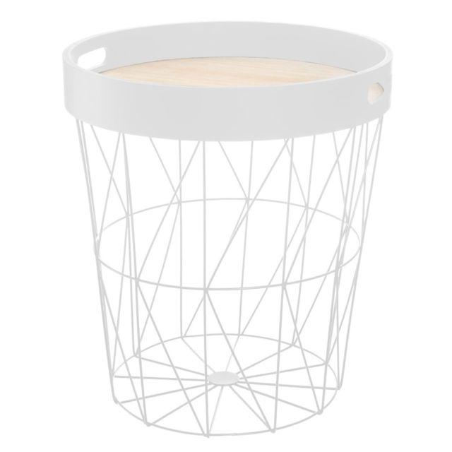 Pegane Table à café blanche en métal / plateau bois - D. 35 x H. 38 cm