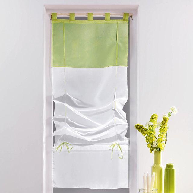 decoline un store droit passant rideau voile bicolore blanc vert tilleul 45 x 180 cm. Black Bedroom Furniture Sets. Home Design Ideas