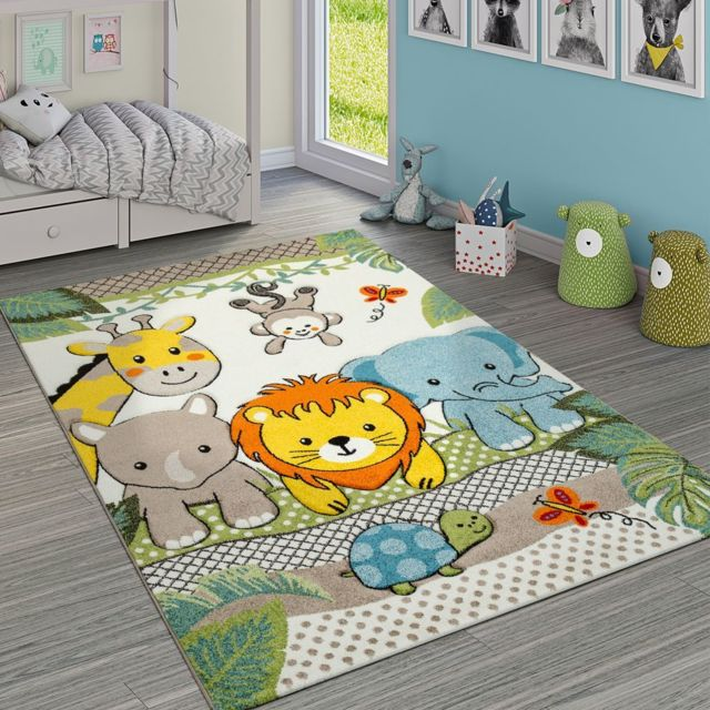 Tapis Chambre Enfant Adorable Joyeux Zoo Animaux Jungle Effet 3D En Vert