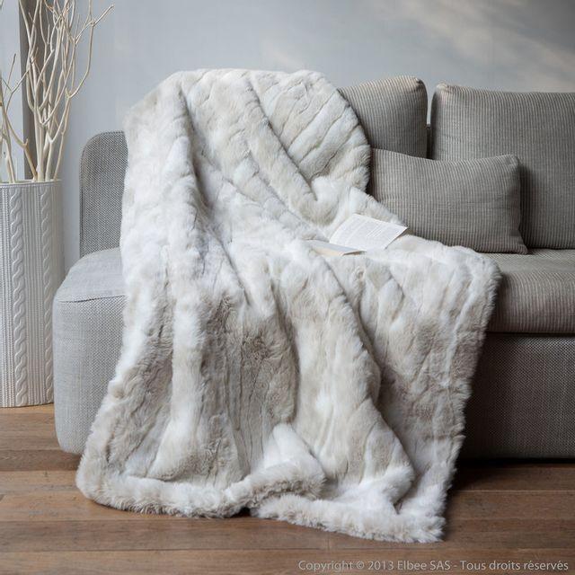 comptoir des toiles plaid fausse fourrure loup blanc 140x180cm sweet homenc pas cher achat. Black Bedroom Furniture Sets. Home Design Ideas