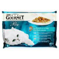 Gourmet - Perle Les Plaisirs de la Mer Chat Adulte Carrelet Thon Poisson de l'Océan Saumon - Sachet