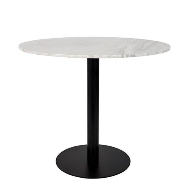 Inside 75 Table de repas ronde King plateau marbre blanc 90 cm pied noir