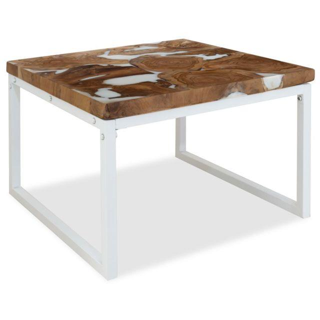 Vidaxl Teck Table Basse Résine 60x60x40 cm Table d'Appoint Meuble de Salon