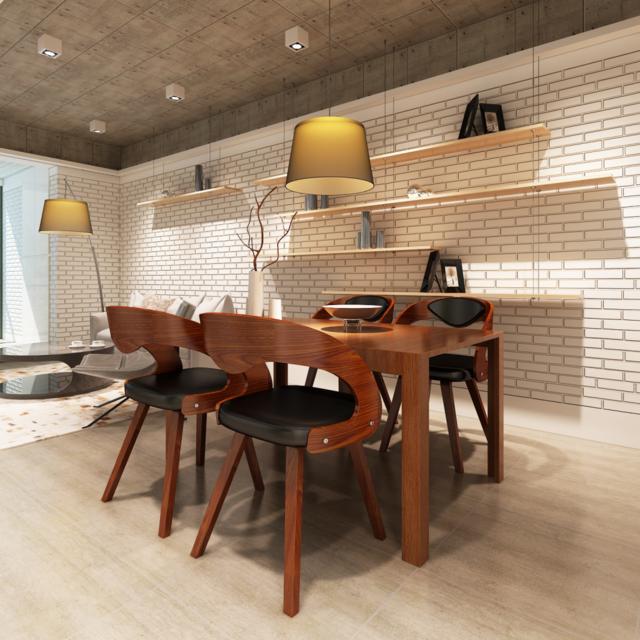 Vidaxl - Lot de 4 chaises à accoudoirs salle manger en cuir mélangé brun