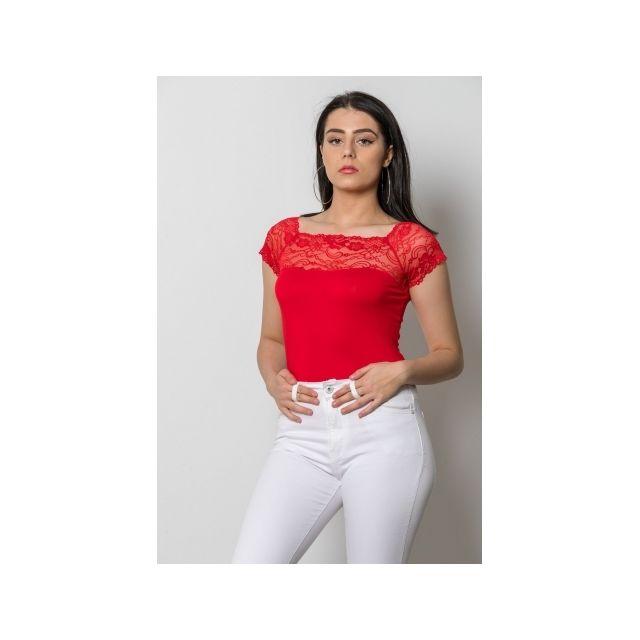 Princesse Boutique - Body Rouge basique décolleté en dentelle - pas ... e4899cf41a4