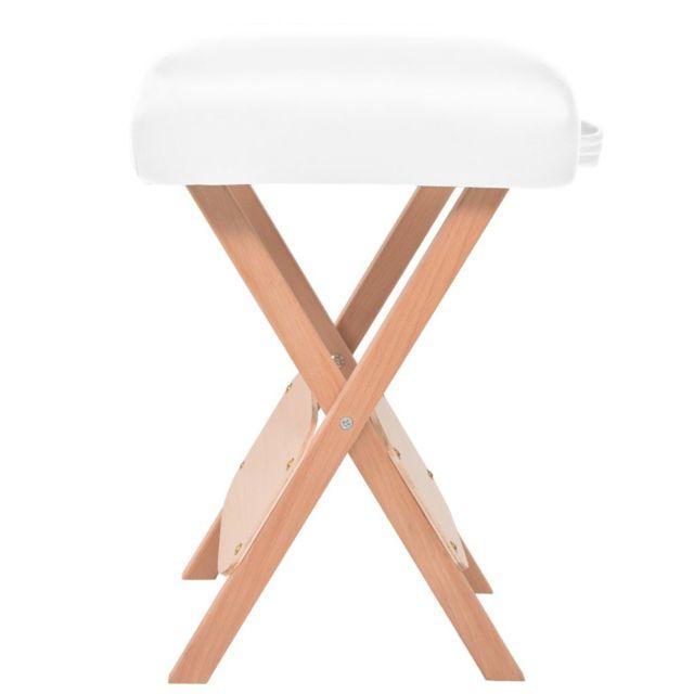 Icaverne - Fauteuils de massage ligne Tabouret de massage pliant avec siège 12 cm d'épaisseur Blanc