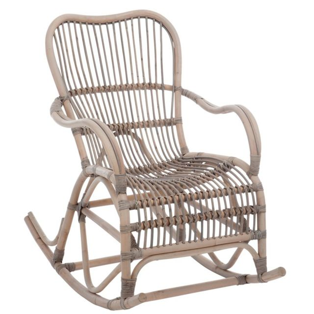 Tousmesmeubles Rocking Chair Rotin Grisé - Ricky