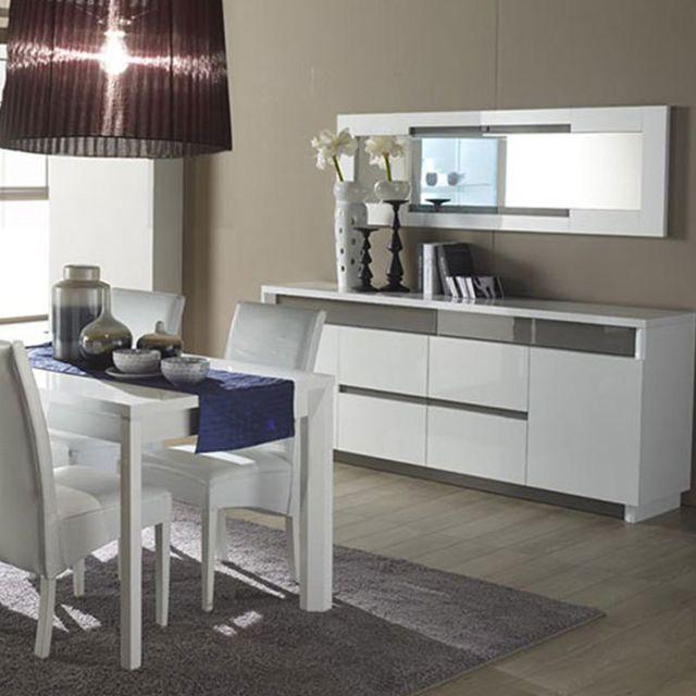 Sofamobili Miroir design blanc et gris laqué Lenzo