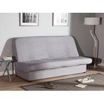 Comptoir Des Toiles - Housse de clic-clac matelassée ligne coton bachette + bande socle pour couchage 130/140x190cm Gaspard - Gris