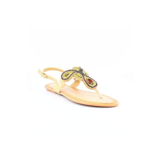 Super Mode - Sandale tong à perles beige - pas cher Achat   Vente ... f120faabd1d