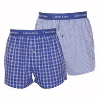 Calvin Klein - Lot de 2 caleçons en coton bleu indigo à petits carreaux et à larges carreaux blancs