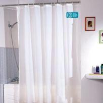 Msv - Rideau de douche polyester 180 x 200 cm blanc