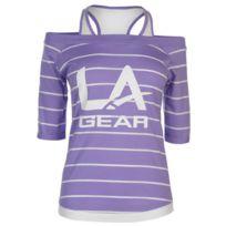 Lagear - T-shirt avec Gilet Femme Pourpre Rayé