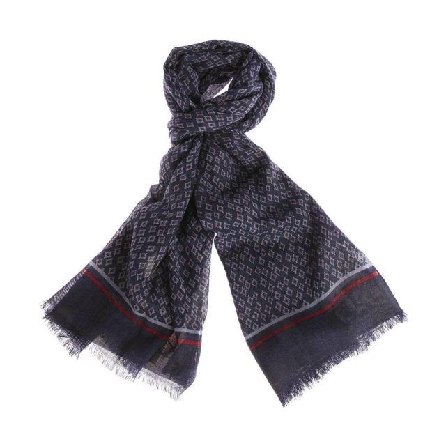 f58f67efa99a Harris Wilson - Echarpe Uno en laine bleu indigo à motifs géométriques bleu  ciel et bordeaux