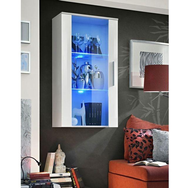 Vitrine LED Murale Design Fly II 126cm Blanc & Noir Paris ...