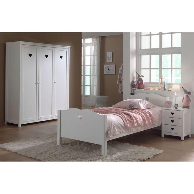 Comforium Ensemble 3 pièces pour chambre à coucher romantique 90x200 cm coloris blanc avec armoire 3 portes