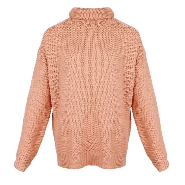 >Pull col roulé chunky pull manches longues s rose