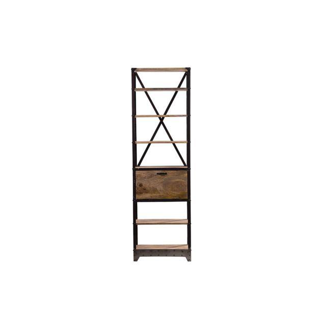 miliboo etag re bois massif et m tal industrielle atelier bois clair noir pas cher achat. Black Bedroom Furniture Sets. Home Design Ideas