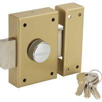 Bricard - Verrou de sureté pour porte à bouton et clé Cylindre 45 mm 3 clés