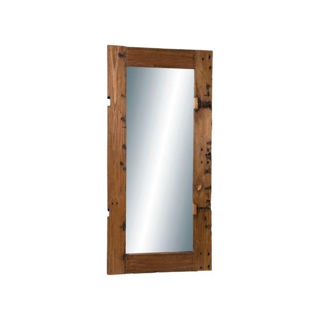 Bobochic Miroir rectangulaire 80x170cm bois recyclé - esprit Brocante Shivir