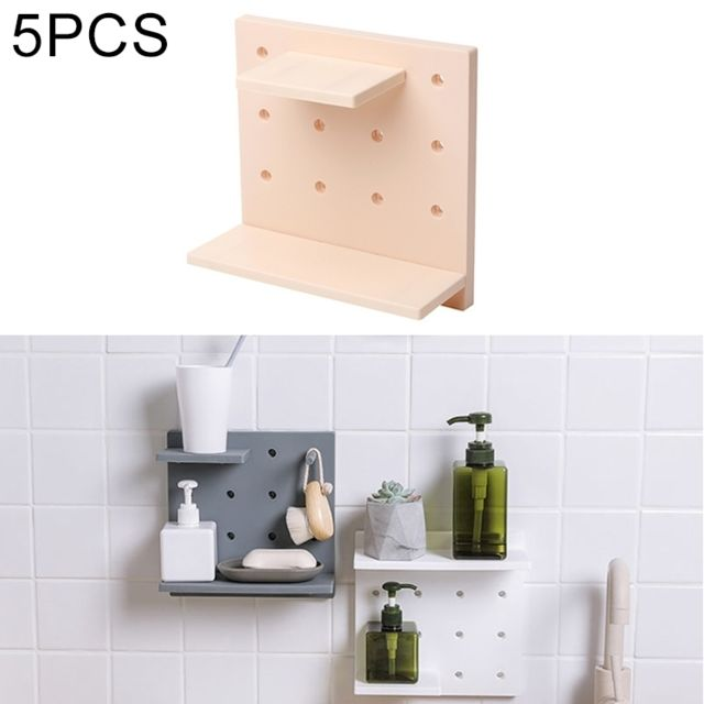 5 Pcs Plastique Conseil Salon Salle De Bains Cuisine Mur Décoration  Rangement Étagère Beige
