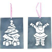 LIFESTYLE HOME COLLECTION - Suspension Sapin et Père Noël en Métal 12x16cm Par 2