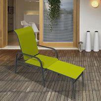 Idea Nature - Fauteuil bas avec repose-pieds intégré en aluminium et polyester enduit Lounge