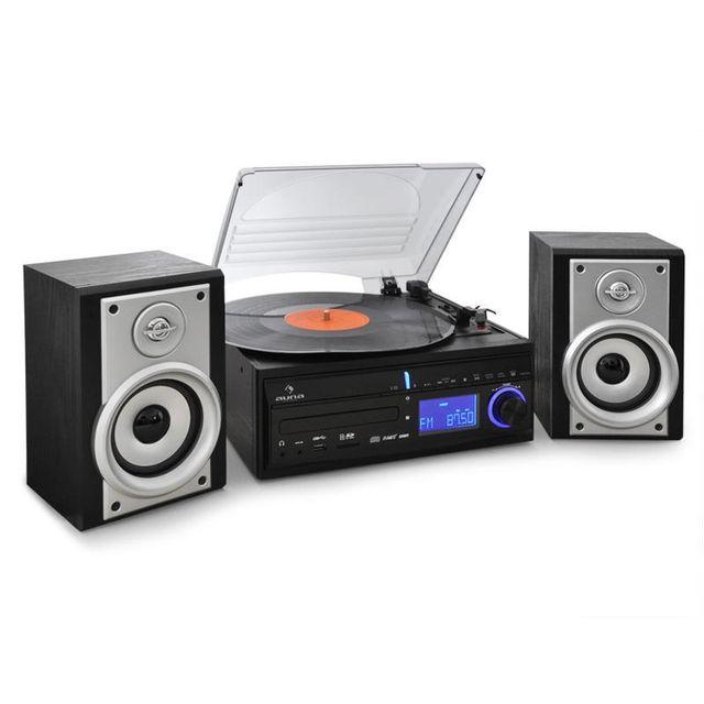 AUNA DS-2 Chaîne Stereo Platine vinyle Enregistrement MP3
