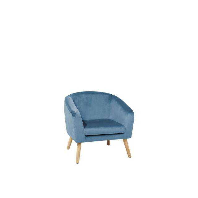 BELIANI Fauteuil en velours bleu clair NAPPA - bleu ciel