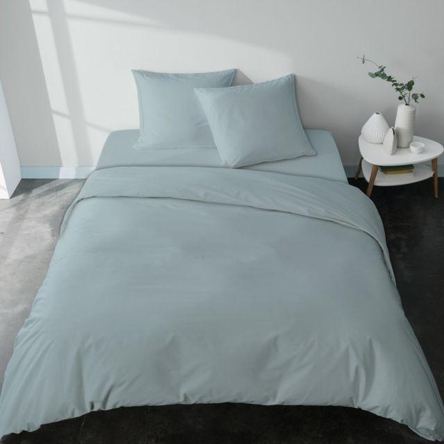 selene et gaia housse de couette bleue extra douce percale bio tout unie fabriqu e en france. Black Bedroom Furniture Sets. Home Design Ideas