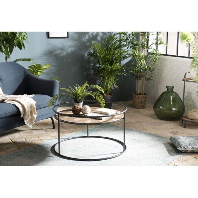 MACABANE Table basse ronde Sapin marqueté pieds métal