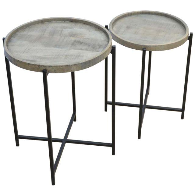Comforium Set de 2 Tables d'appoints rond en bois massif manguier avec piètement métallique noir cadre croisé coloris argile antiq