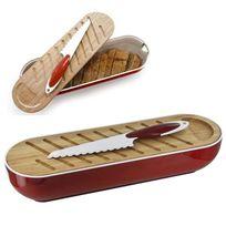 Touslescadeaux - Corbeille à Pain 3 en 1 - planche à pain bambou, couteau à pain - Rouge