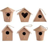 - nichoirs à oiseaux, en carton épais - lot de 6