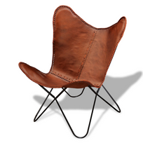 Rocambolesk - Superbe Fauteuil papillon en cuir véritable Vintage Rétro neuf