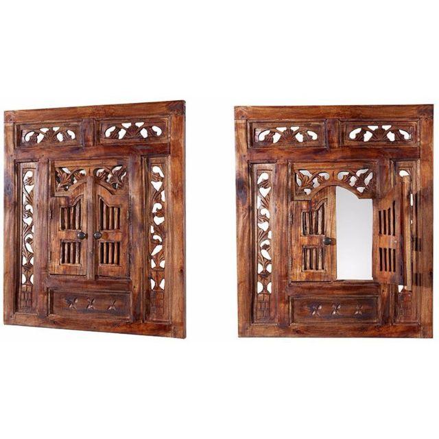 Comforium Miroir décoratif 70 cm design oriental en bois acajou et verre coloris brun