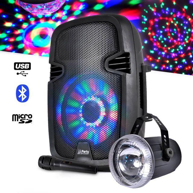 Party Sound Enceinte sur batterie à Leds Bluetooth + Micro filaire + Stroboscope