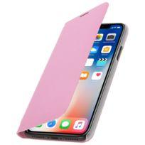 Avizar - Housse iPhone X Etui Portefeuille Flip Book Cover Protection Porte carte - Rose