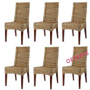 Rotin design lot de 6 chaises desna en osier blond for Lot de 6 chaises grises pas cher