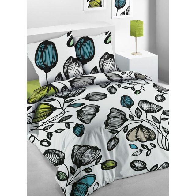 les douces nuits de ma housse de couette 240x260 poppy 2 taies 100 coton 57 fils pas. Black Bedroom Furniture Sets. Home Design Ideas