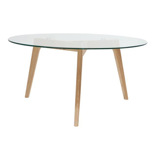 Miliboo Table basse ronde design contemporain verre et bois Davos