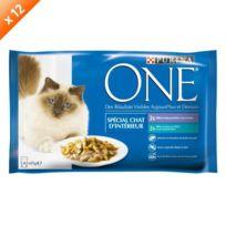 Purina One - One Emincés en gelée spécial chat d'intérieur - Pour chat adulte - 4x85g x12