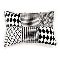 Declikdeco - Coussin rectangulaire patchwork noir et blanc 30x50cm Harley