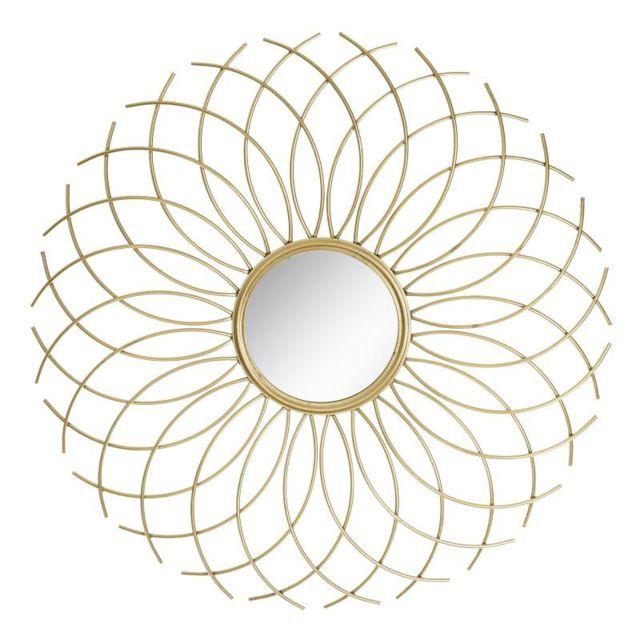 Tousmesmeubles Miroir soleil Métal doré N°1 - Semela