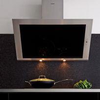 Silverline - Hotte cuisine murale Toundra verre noir et inox 90 cm